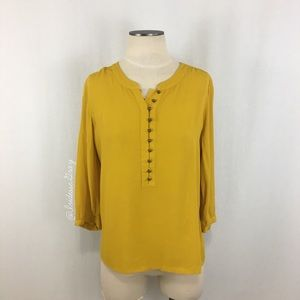 Banana Republic- Mustard Button Detail Blouse SZ S